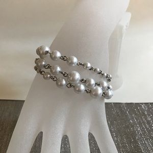 Premier Designs Jewelry - Premier design 3 strand pearl and silver bracelet